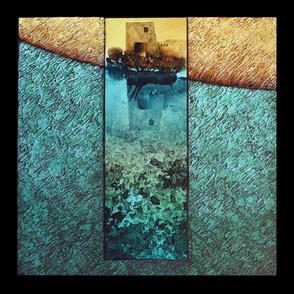 Marée haute 1 - Collage - acrylique - technique mixte I 40x40 cm I © Réf: 77 I
