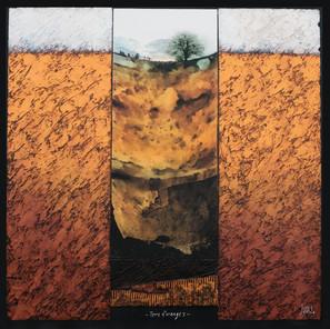 Terre d'orange 1 - Collage - acrylique - technique mixte I 70x70 cm I © Réf: 95 I