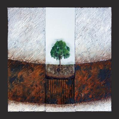 L'arbre nu 1 - Collage - acrylique - technique mixte I 40x40 cm I © Réf: 81