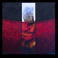 Terre de feu 3 - Collage - acrylique - technique mixte I 40x40 cm I © Réf: 76 I