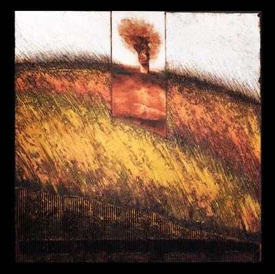 Vent d'automne 2 - Collage - acrylique - technique mixte I 50x50 cm I © Réf: 93A