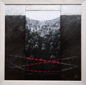 Là-bas 1 - Collage - acrylique - technique mixte I 40x40 cm I © Réf: 70 I