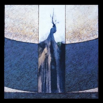 L'arbre Bleu 3 - Collage - acrylique - technique mixte I 60x60 cm I © Réf: 18 I