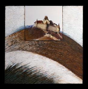 De la fenêtre 4 - Collage - acrylique - technique mixte I 40x40 cm I © Réf: 75 I