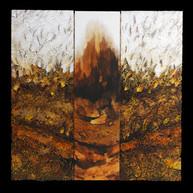Terre de feu 4 - Collage - acrylique - technique mixte I 40x40 cm I © Réf: 86 I
