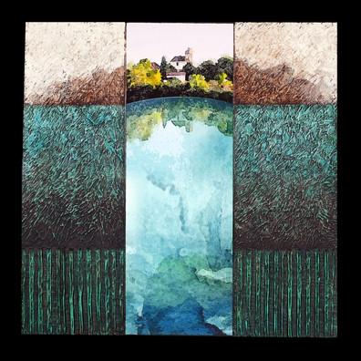 Lieu-dit 1 - Collage - acrylique - technique mixte I 40x40 cm I © Réf: 85 I