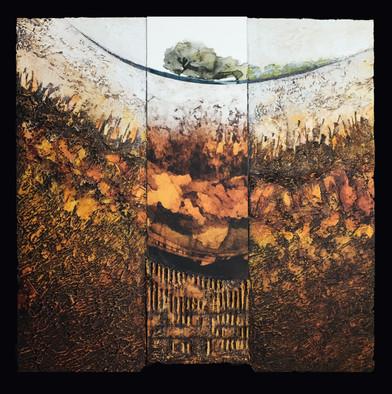 Terre 1 - Collage - acrylique - technique mixte I 40x40 cm I © Réf: 96 I