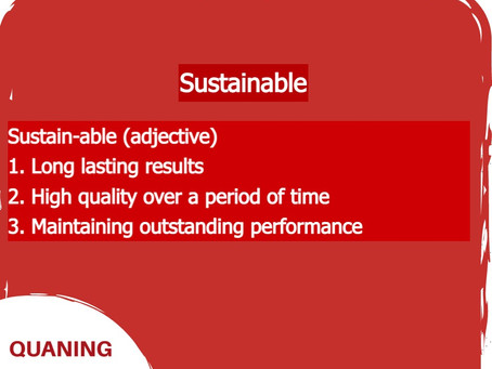 What does sustainable mean in relation to Quaning?