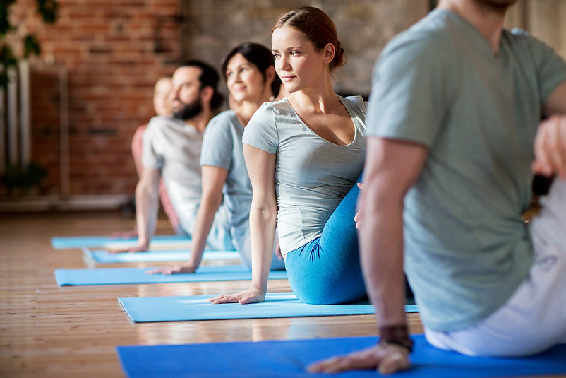 fitness, sport and healthy lifestyle concept - group of people doing yoga seated spinal twist pose i