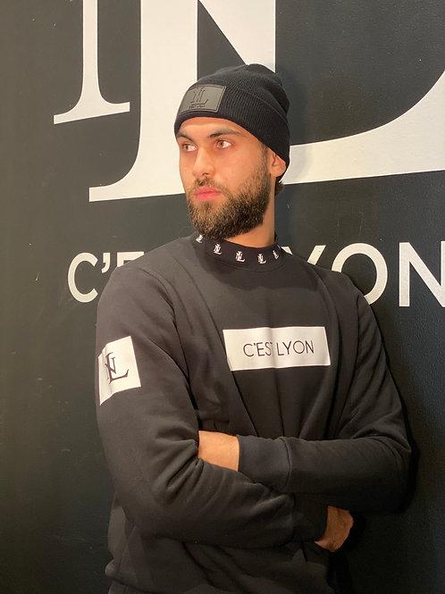 Cest Lyon High Collar Sweatshirt Black