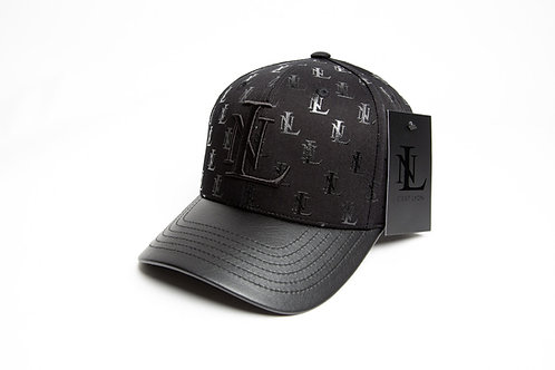 Black On Black Baseball cap LN All-overprint med læder