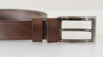 "Vegetable Tanned Hide Belt - 25mm (1"") Nickel Plated Brass Buckl"