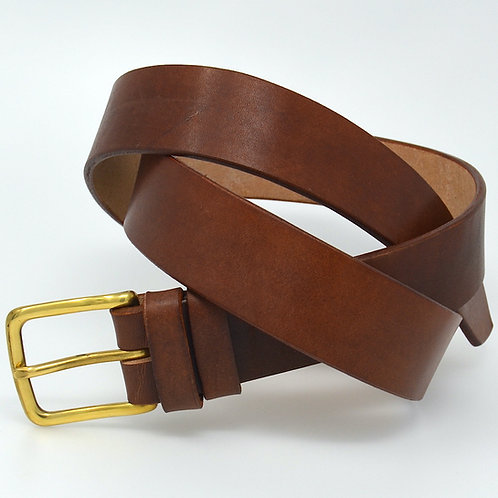 Dark Tan English Oak Bark Tanned Hide Belt - 38mm Solid Brass Buckle