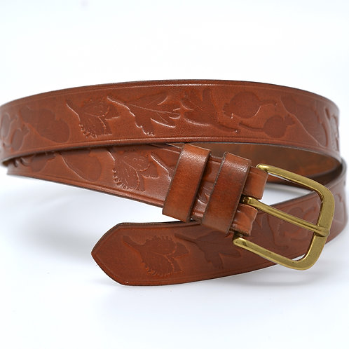"Bonchurch Hedgerow Leather Belt  - 32mm (1 1/4"") Solid Brass Buckle"