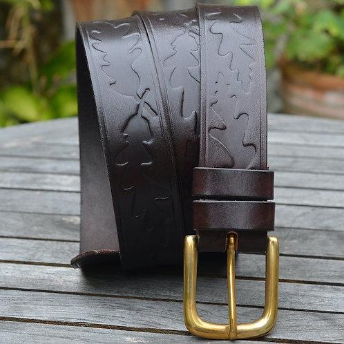 Bonchurch Oak Leather Belt  - 30mm Solid Brass Buckle