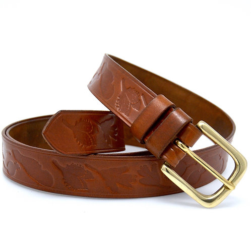 "Bonchurch Hedgerow Leather Belt  - 32mm(1 1/4"") Solid Brass Buckle(A)"
