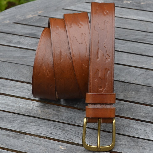Embossed Dog Leather Belt  - 32mm Solid Brass Buckle