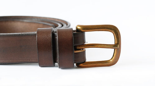 "Italian Vegetable Tanned Hide Belt - 25mm (1"") Solid Brass Buckle"