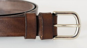 "Italian Vegetable Tanned Hide Belt - 25mm (1"") Nickel Plated Brass Buckl"