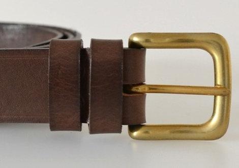 "Italian Vegetable Tanned Hide Belt - 32mm   (1 1/4"") Solid Brass Buckle"