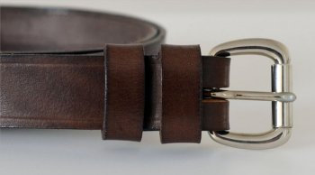 "Italian Vegetable Tanned Hide Belt - 25mm (1"") Nickel Plated Brass Buckle"