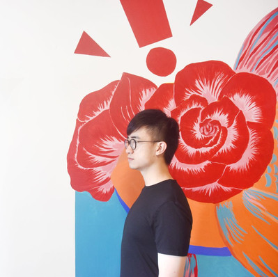 The artist and mural
