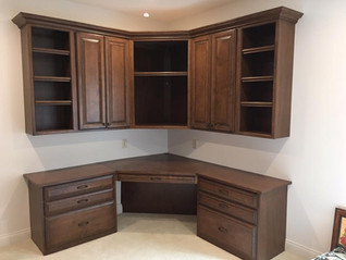 built in desk and cabinets