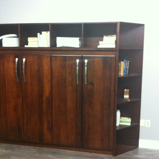 horizontal murphy bed with corner and top side cabinets