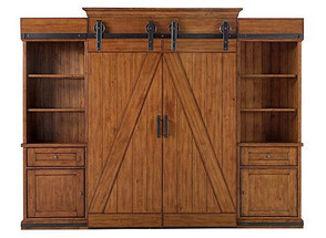 murphy bed with barn doors and two side cabinets