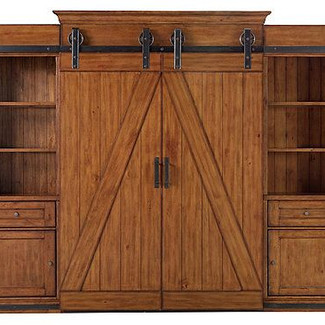 murphy bed with barn doors and side cabinets