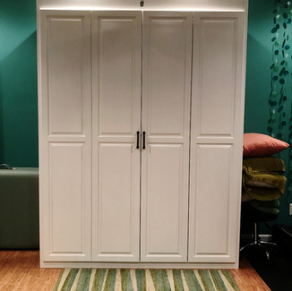 queen white painted murphy bed