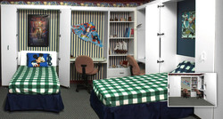 twin Murphy beds with desks