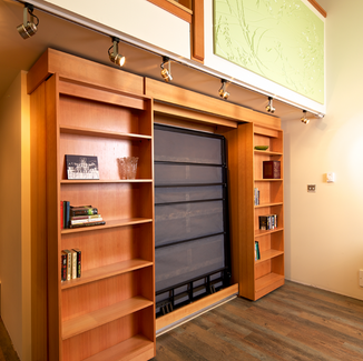 murphy bed with library doors and side cabinets