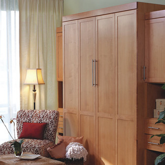 maple queen murphy bed with side cabinets