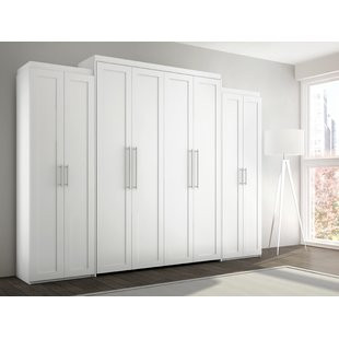 white painted murphy bed with side cabinets