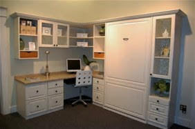 white painted murphy bed with built in office