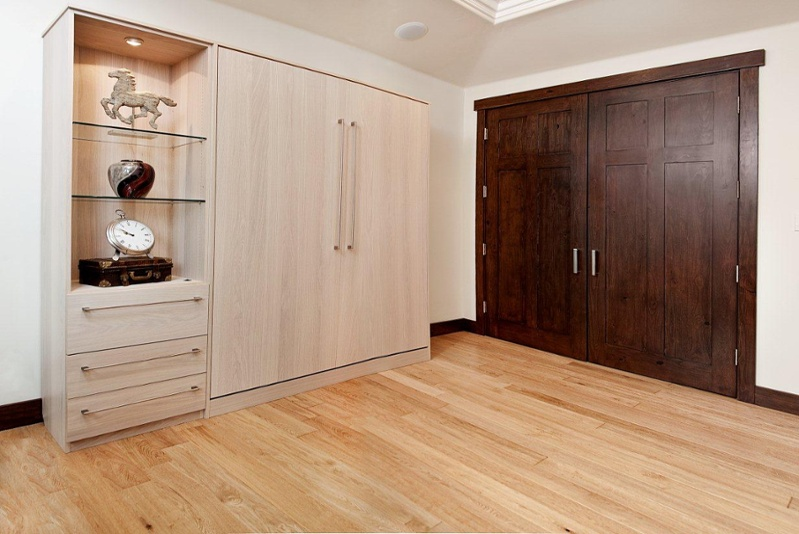 murphy bed with glass shelving