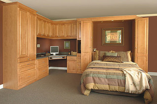 murphy bed with built in desk and wardrobe
