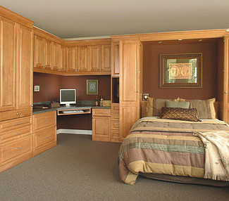 murphy bed with built in desk, wardrobe, and cabinets