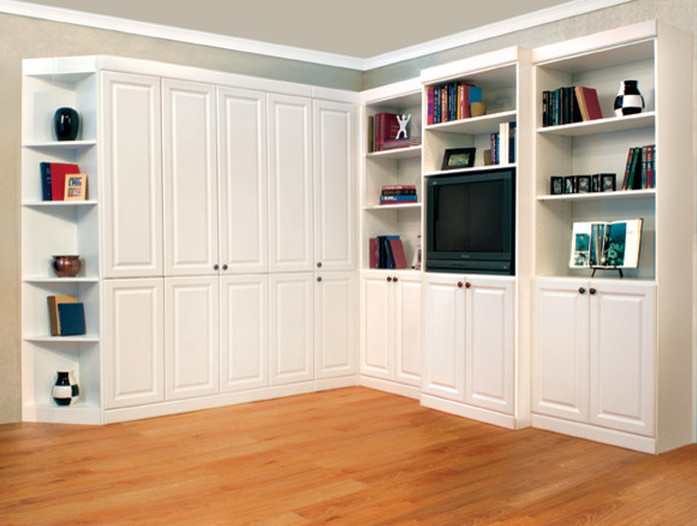 white painted murphy with built ins