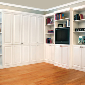 painted white murphy bed with corner side cabinet and built ins