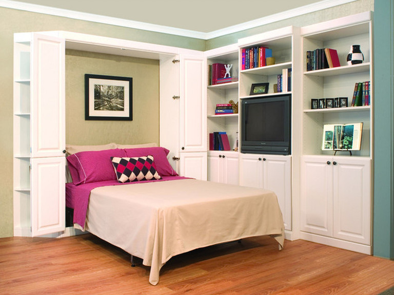 white painted murphy bed with built