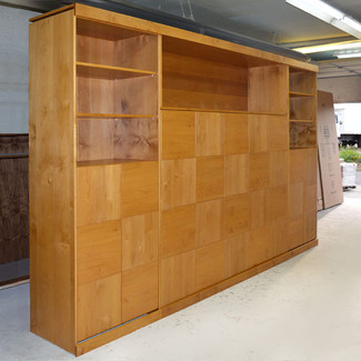 horizontal queen murphy bed with side and top cabinets