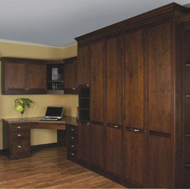 murphy bed with corner cabinet and built in desk