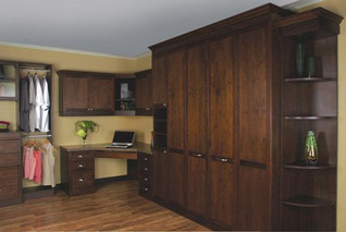 murphy bed with corner cabinet and built in office