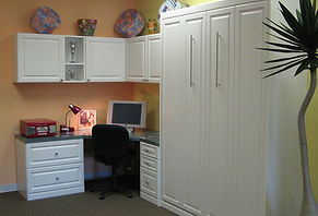 murphy bed painted white built in home office
