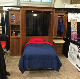 single cherry murphy bed with side cabinets