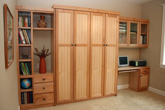 murphy bed with side cabinet and built in office