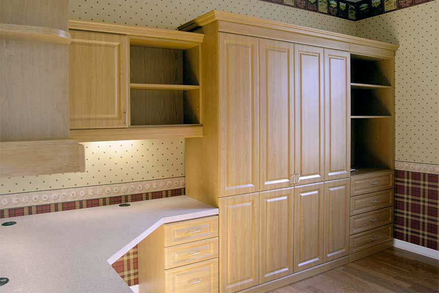 oak murphy bed and built in office
