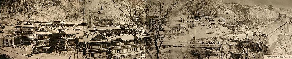昭和32年頃の定山渓温泉街の白黒パノラマ写真
